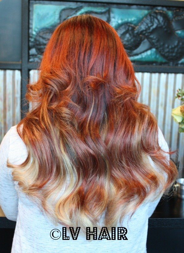 Red Blonde Ombre hair extensions LV Hair