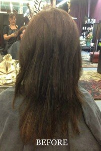 Platinum Seamless Human Hair Extensions dark before