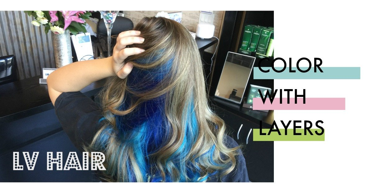 Intense Blue Hair Color Underneath Blonde