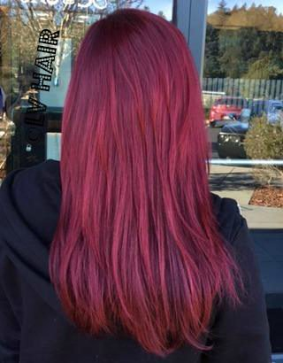Bold Red Haircolor Lv Hair Extensions Makeup Bar